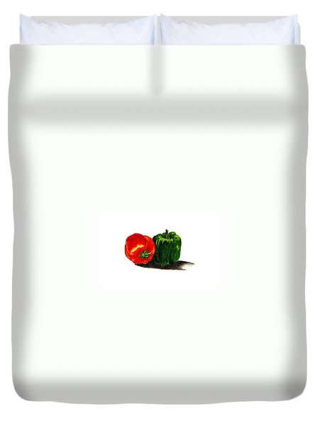 Red Pepper And Green Pepper Duvet Cover by Michael Vigliotti