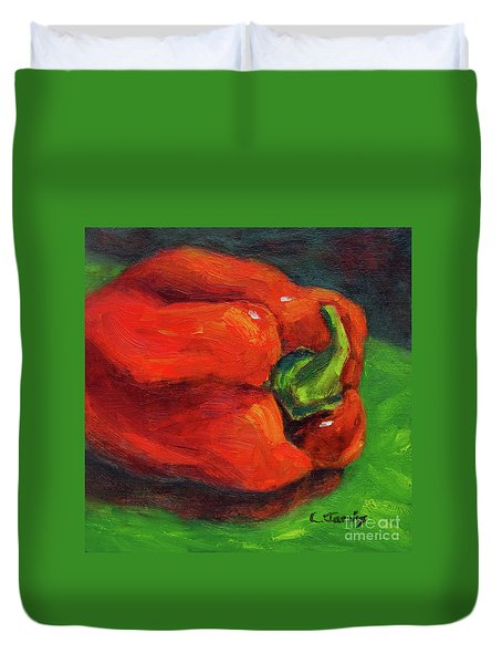 Red Pepper Still Life Duvet Cover