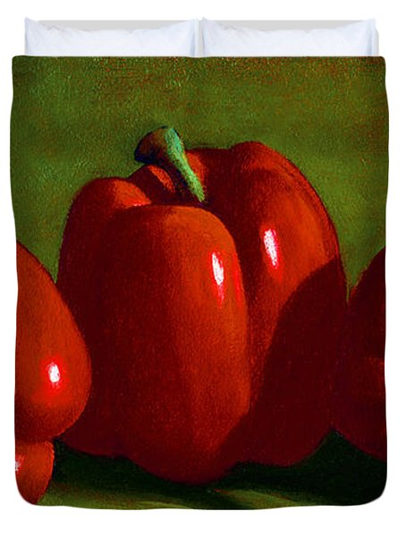 Red Peppers Duvet Cover