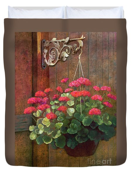 Duvet Cover featuring the painting Red Petals Geraniums by Nancy Lee Moran