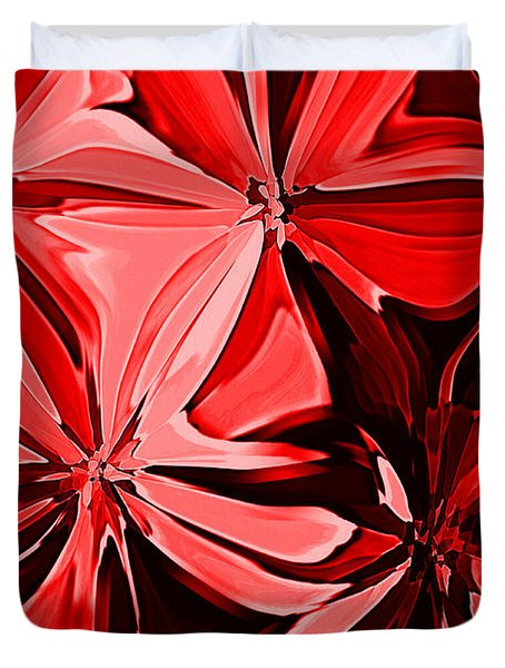 Red Pinched And Gathered Duvet Cover