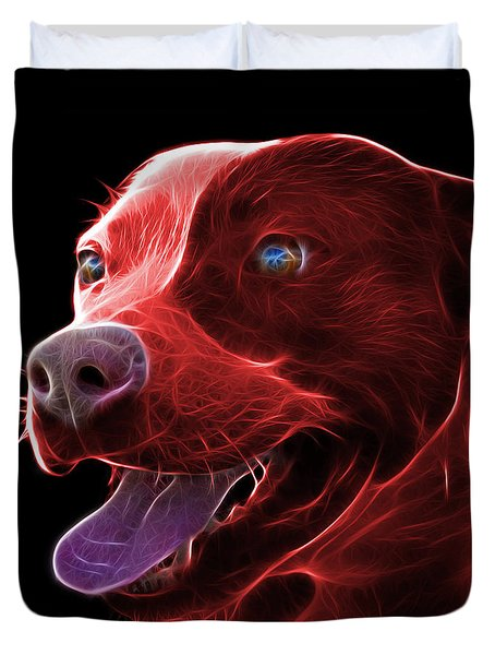 Red Pit Bull Fractal Pop Art - 7773 - F - Bb Duvet Cover by James Ahn