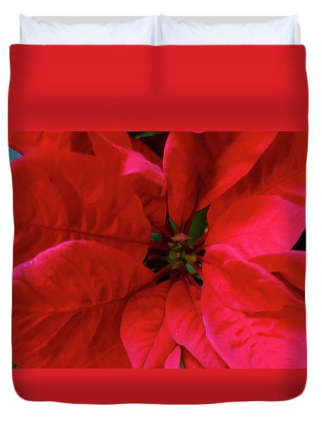 Red Poinsettia Duvet Cover