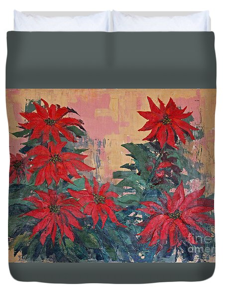 Red Poinsettias By George Wood Duvet Cover
