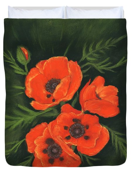 Duvet Cover featuring the painting Red Poppies by Anastasiya Malakhova