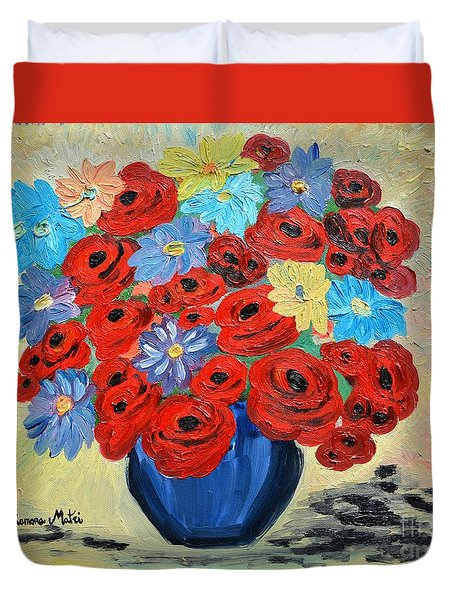 Red Poppies And All Kinds Of Daisies  Duvet Cover
