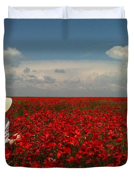 Red Poppies And Lady Duvet Cover