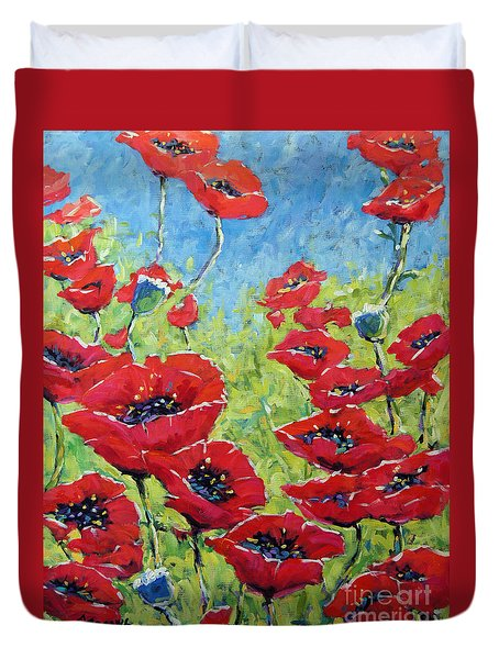 Red Poppies By Prankearts Duvet Cover by Richard T Pranke