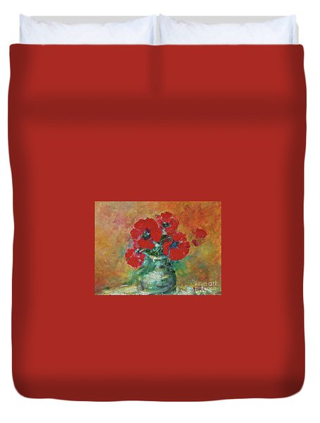 Red Poppies In A Vase Duvet Cover