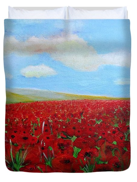Red Poppies In Remembrance Duvet Cover