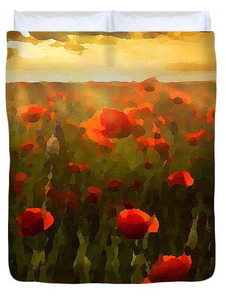 Red Poppies In The Sun Duvet Cover