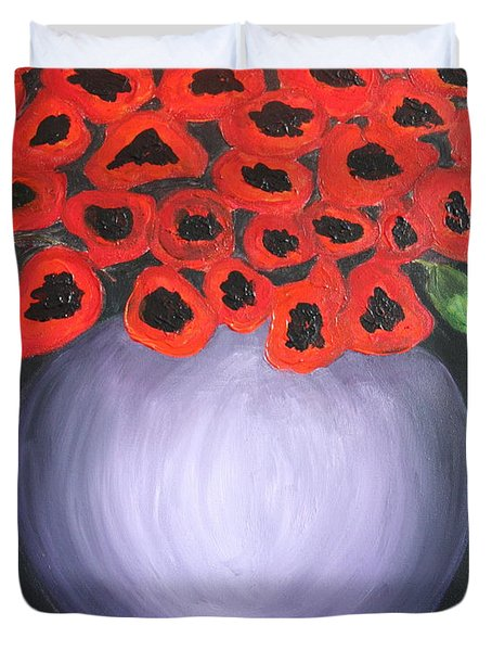 Duvet Cover featuring the painting Red Poppies  by Jolanta Anna Karolska