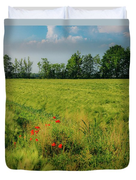 Red Poppies On A Green Wheat Field Duvet Cover