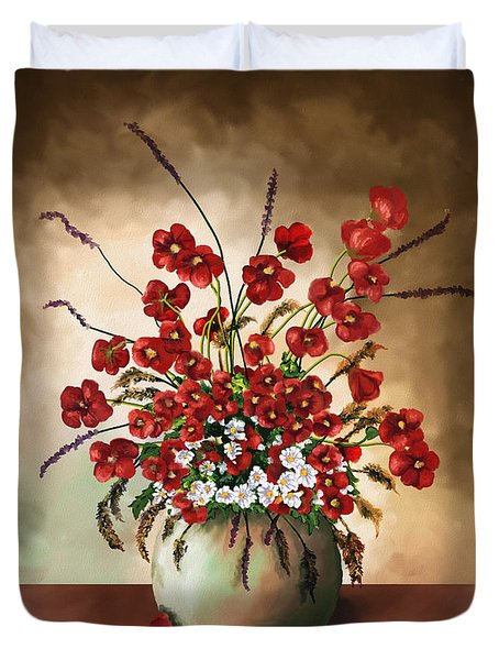 Duvet Cover featuring the digital art Red Poppies by Susan Kinney