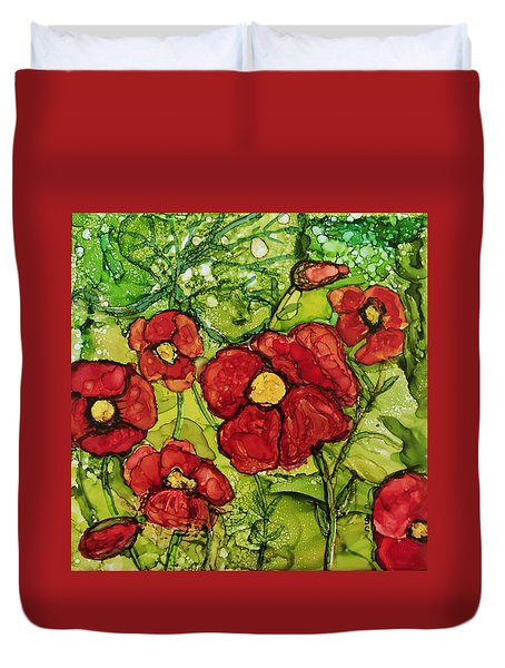 Red Poppies Duvet Cover by Suzanne Canner