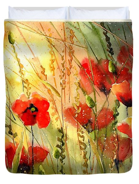 Red Poppies Watercolor Duvet Cover