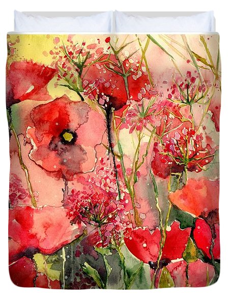 Red Poppies Wearing Pink Duvet Cover