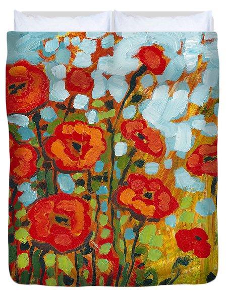 Red Poppy Field Duvet Cover