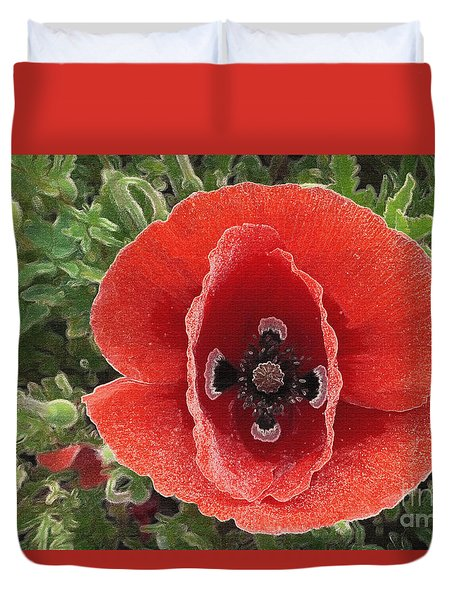 Duvet Cover featuring the photograph Red Poppy Flower 2 by Jean Bernard Roussilhe