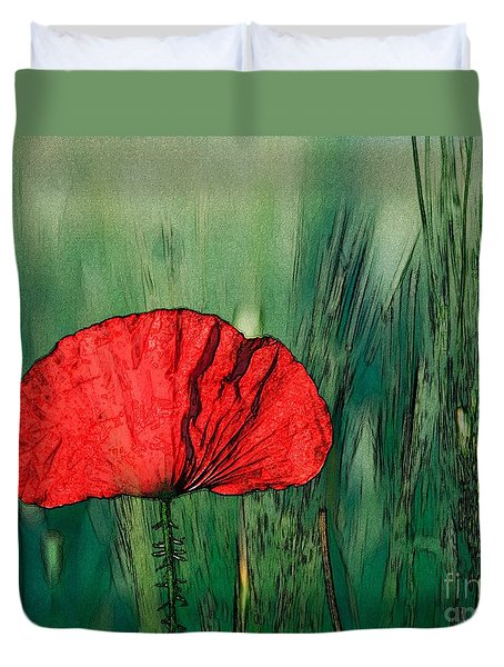 Duvet Cover featuring the photograph Red Poppy Flower by Jean Bernard Roussilhe