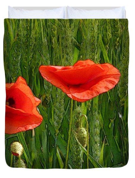 Red Poppy Flowers In Grassland 2 Duvet Cover