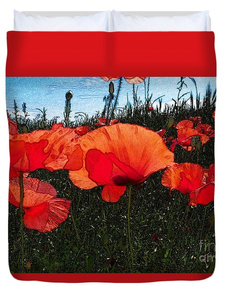 Duvet Cover featuring the photograph Red Poppy Flowers In Grassland by Jean Bernard Roussilhe