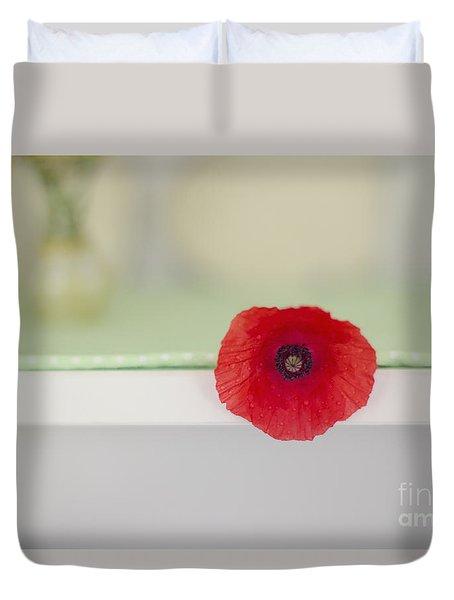Red Poppy On Windowsill Duvet Cover