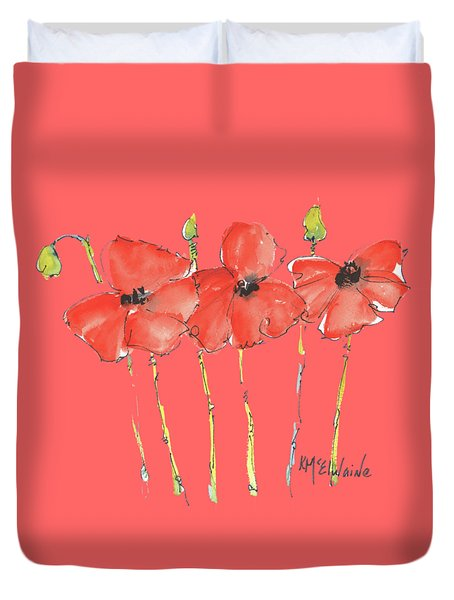 Red Poppy Play Duvet Cover