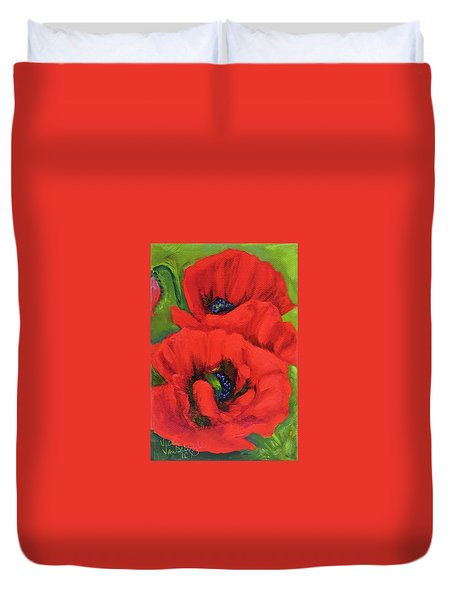 Red Poppy Seed Packet Duvet Cover