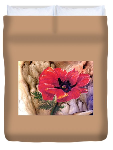 Duvet Cover featuring the painting Red Poppy by Sherry Shipley