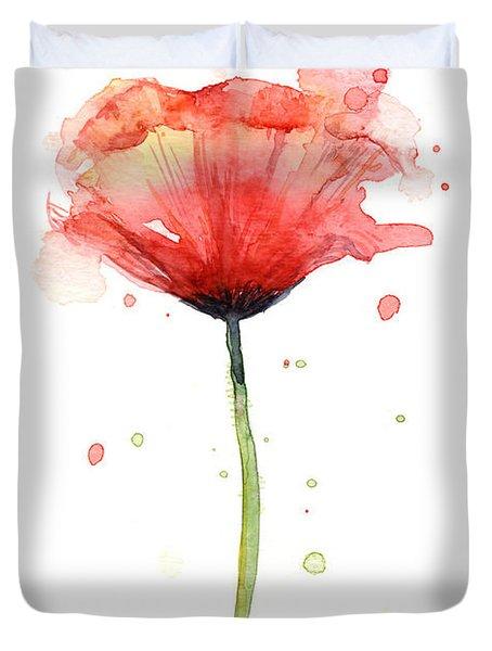 Red Poppy Watercolor Duvet Cover
