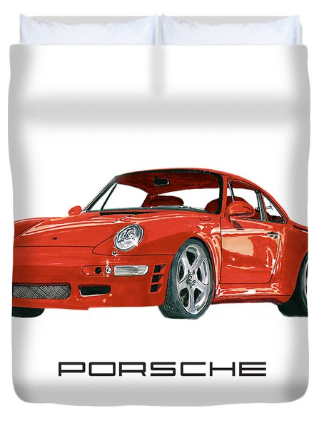 Red Porsche 993 1997 Twin Turbo R Duvet Cover