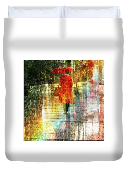 Red Rain Day Duvet Cover