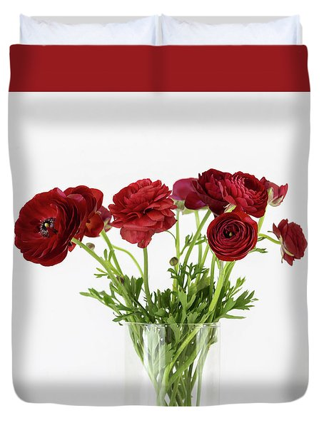 Duvet Cover featuring the photograph Red Ranunculus by Kim Hojnacki