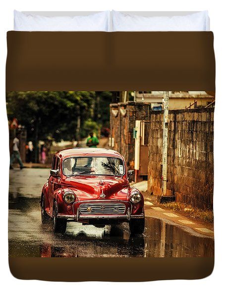 Red Retromobile. Morris Minor Duvet Cover