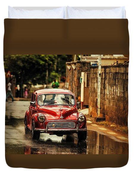 Red Retromobile. Morris Minor Duvet Cover by Jenny Rainbow