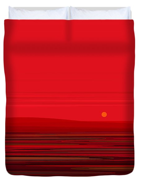 Duvet Cover featuring the digital art Red Ripple II by Val Arie