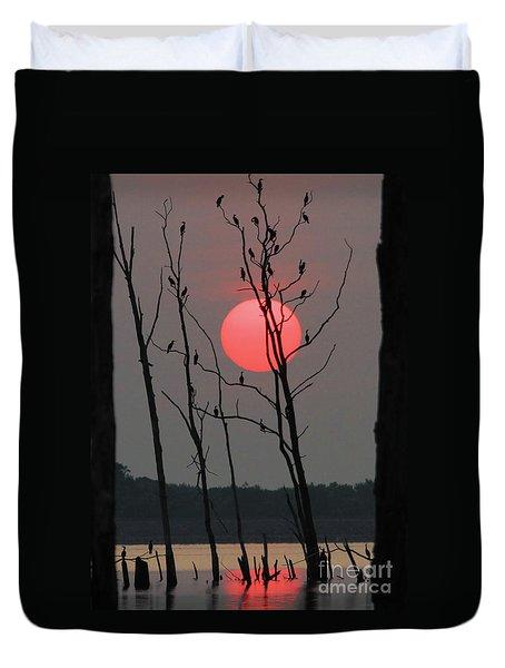 Red Rise Cormorants Duvet Cover