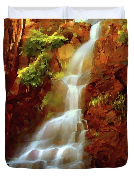 Duvet Cover featuring the painting Red River Falls by Peter Piatt