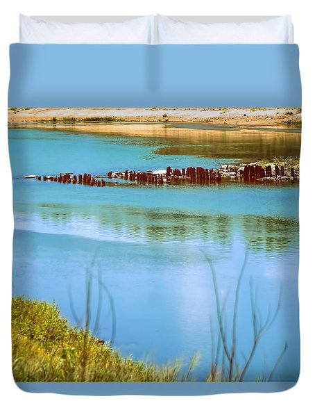 Duvet Cover featuring the photograph Red River Crossing Old Bridge by Diana Mary Sharpton