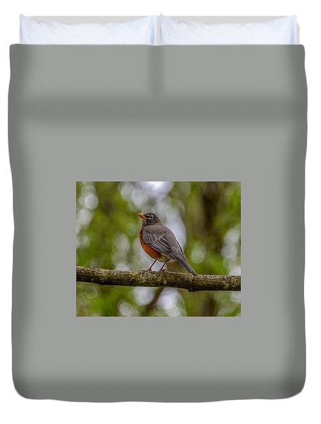 Duvet Cover featuring the photograph Red Robin by Jerry Cahill