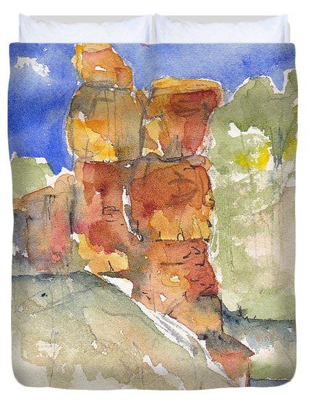 Duvet Cover featuring the painting Red Rock  Canyon by Anne Duke