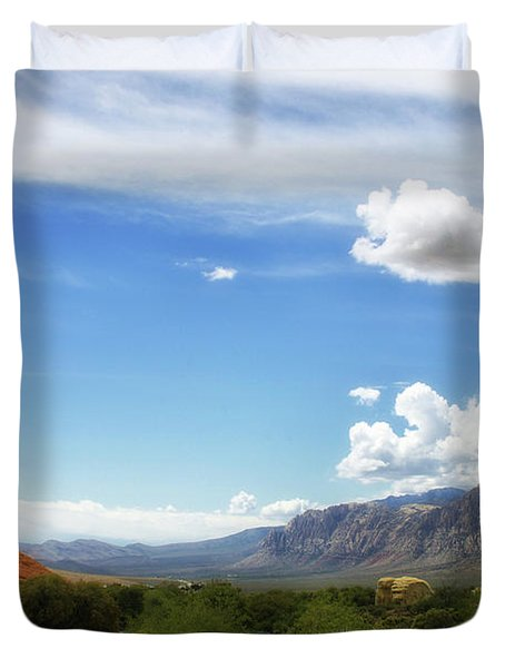 Red Rock Canyon Vintage Style Sweeping Vista Duvet Cover