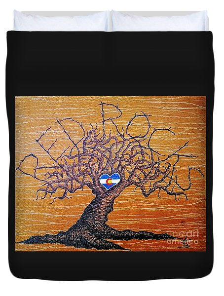 Duvet Cover featuring the drawing Red Rock Colorado Love Tree by Aaron Bombalicki