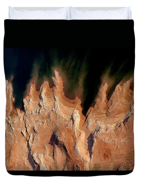 Red Rock Feathers Duvet Cover