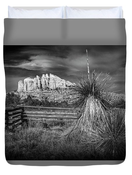 Duvet Cover featuring the photograph Red Rock Formation In Sedona Arizona In Black And White by Randall Nyhof