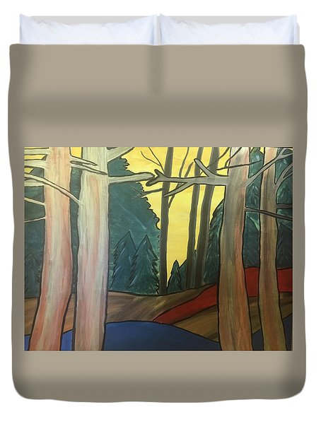 Red Rock In Woods Duvet Cover
