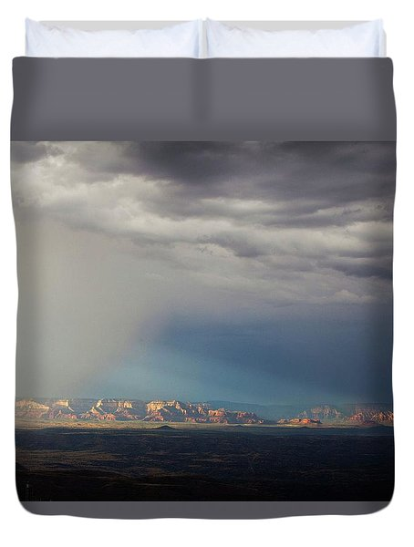 Duvet Cover featuring the photograph Red Rock Monsoon by Ron Chilston