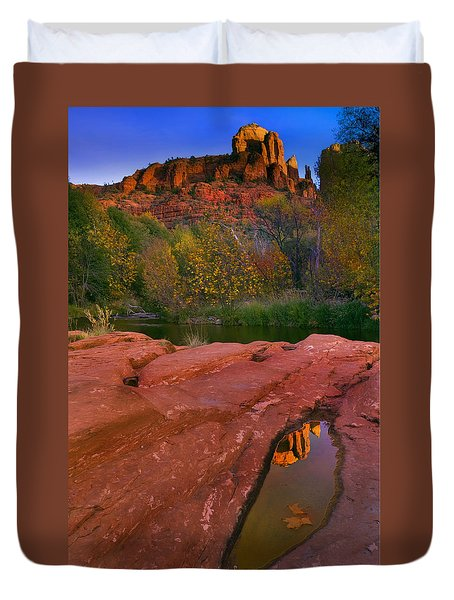 Red Rock Reflection Duvet Cover by Mike  Dawson