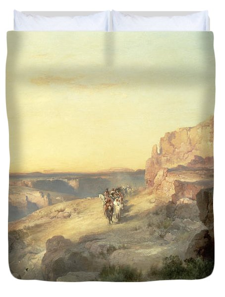 Red Rock Trail Duvet Cover by Thomas Moran